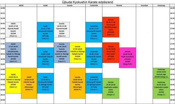 Ujbuda karate edzesrend 2021.05.10 tol