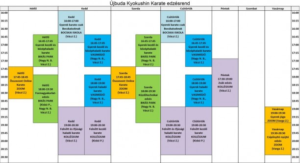 Ujbuda karate edzesrend 2021.05.31 tol