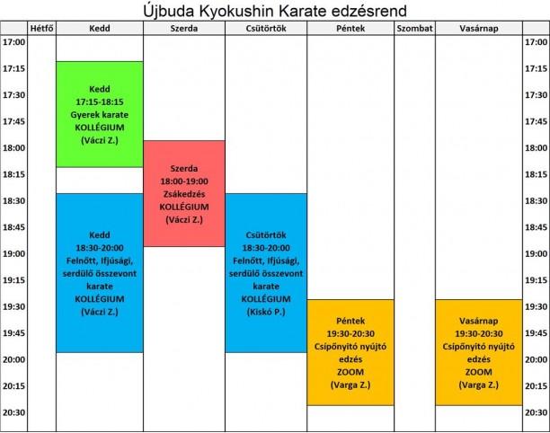 Ujbuda karate edzesrend 2021.07.26 tol